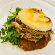 Braised turkey arepa